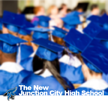 Advertisement for the new JCHS. Photo of students at graduation wearing blue caps and gowns.